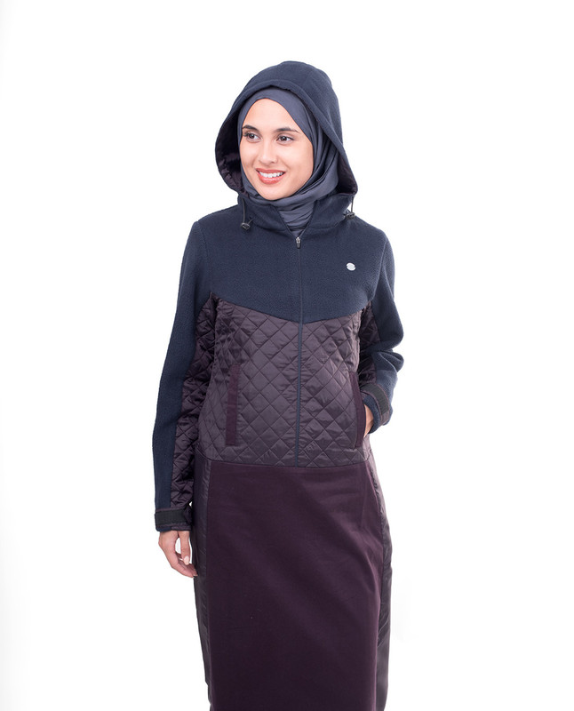 Purple Fleeced Winter Hooded Jilbab