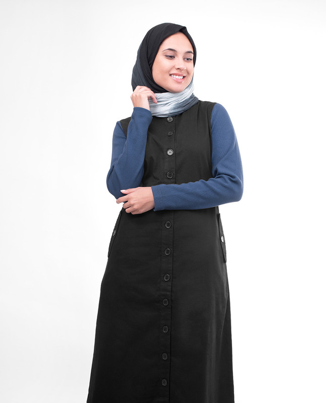 High neck collar jilbab abaya