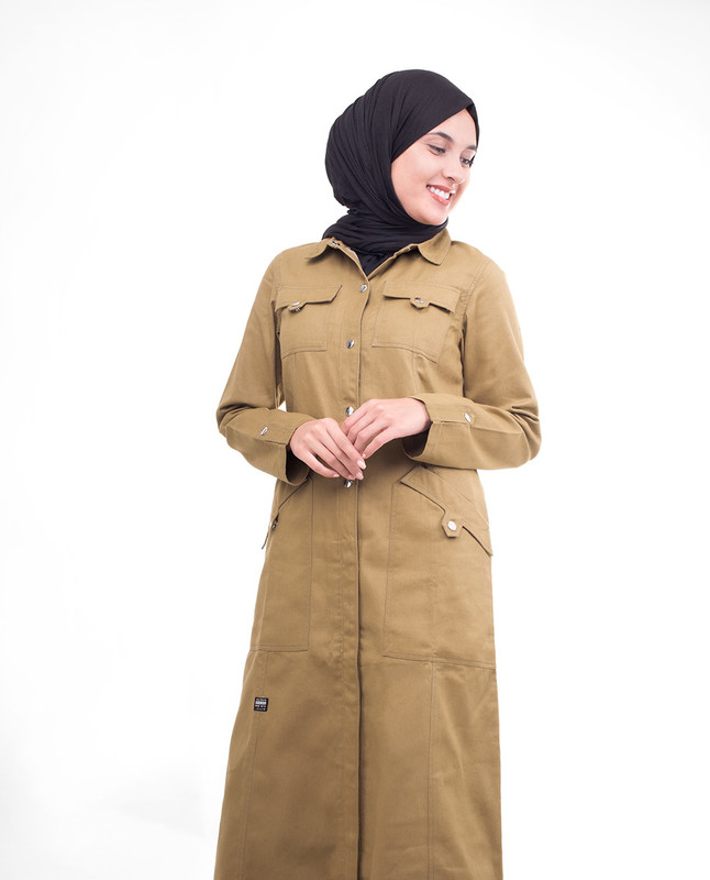 Brown Full Front Open Jilbab