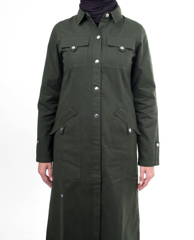 Green button abaya jilbab
