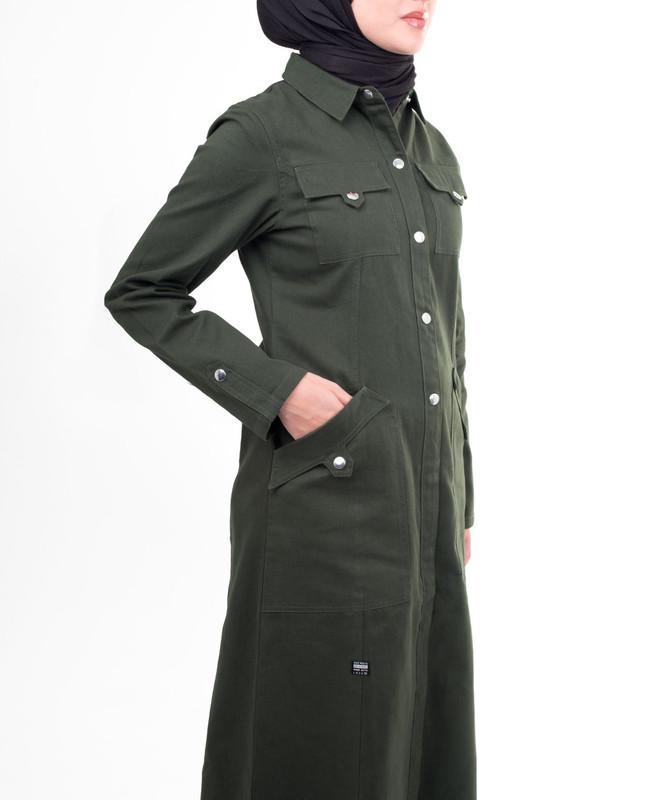 Olive green winter style abaya jilbab
