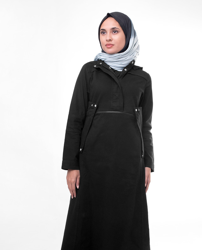 Black Detachable Hood Jilbab