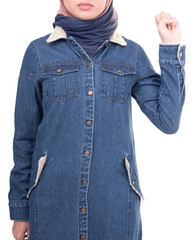 Winter style collar abaya jilbab