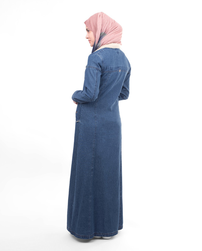 Winter fashion style denim abaya jilbab