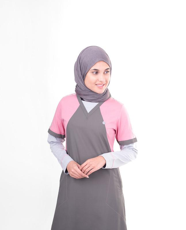 Grey V-neck abaya jilbab