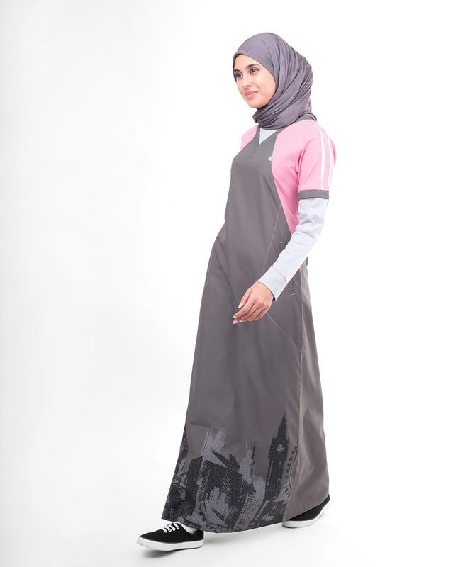Grey & Pink London Skyline Print Jilbab