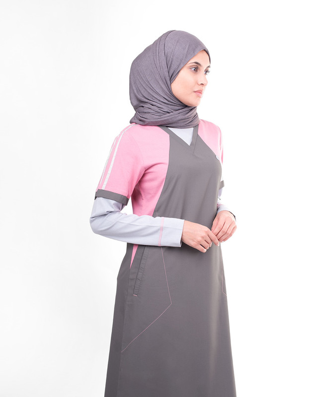 Print pink abaya jilbab