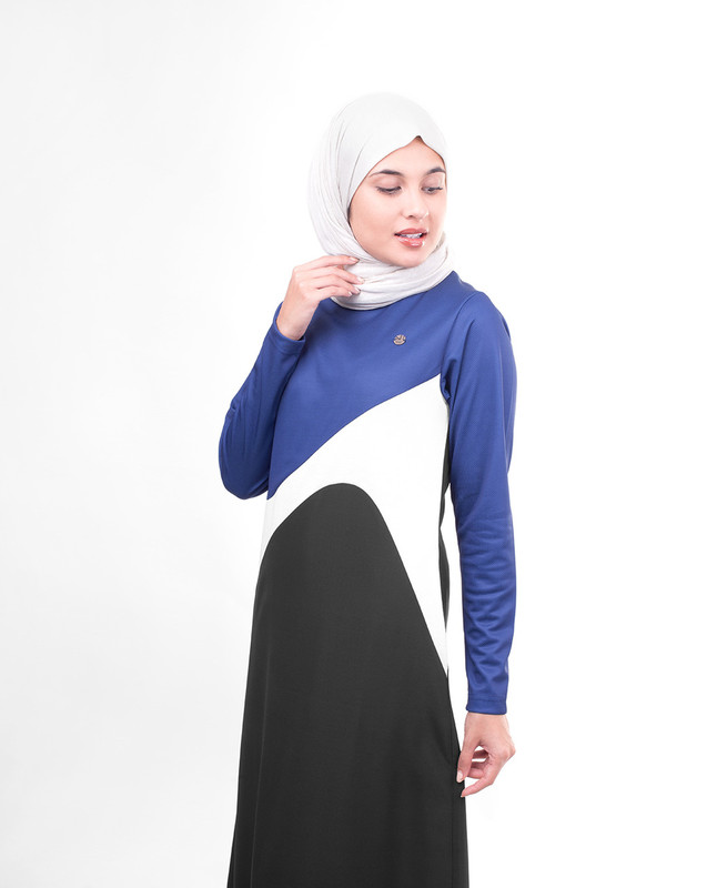 Black and white casual abaya jilbab