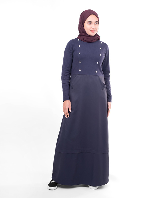 Navy blue fashionable abaya jilbab