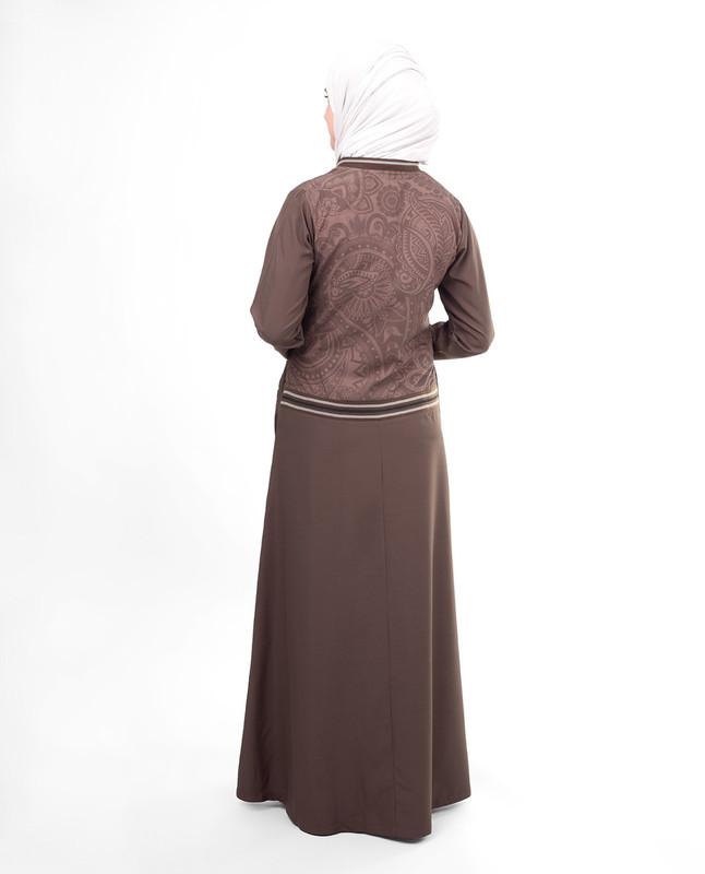 Grey printed abaya jlbab