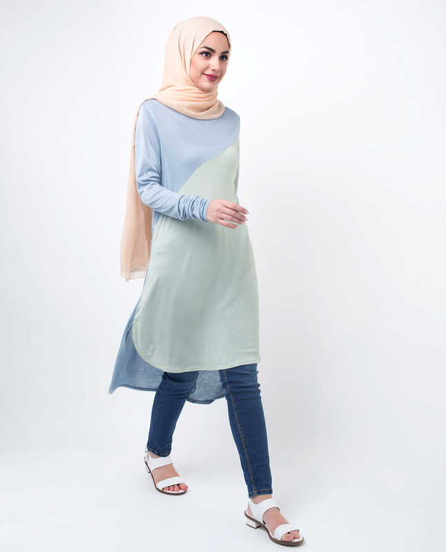 Blue & Green Modest Top Tunic