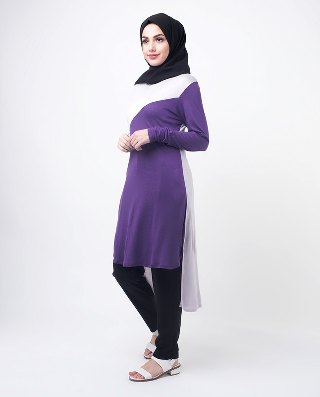 Purple & White Modest Top Tunic