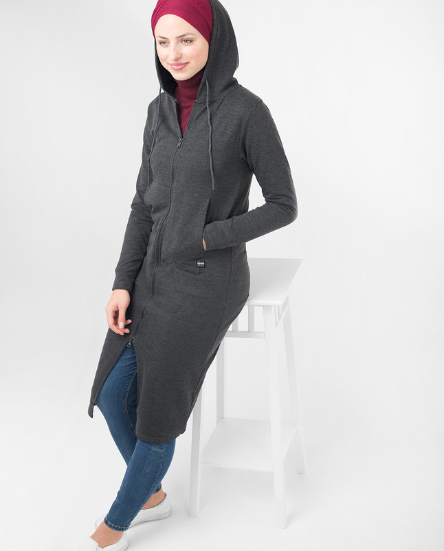 Grey Warm Hooded Modest Top