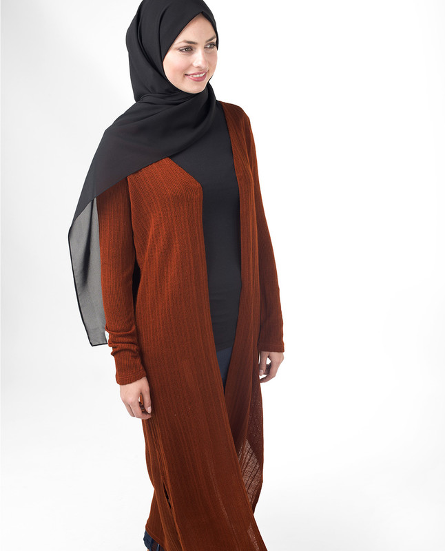 Rust Orange Full Length Knitted Outerwear