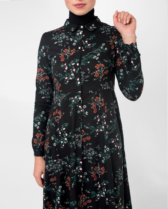new look black floral shirt dress