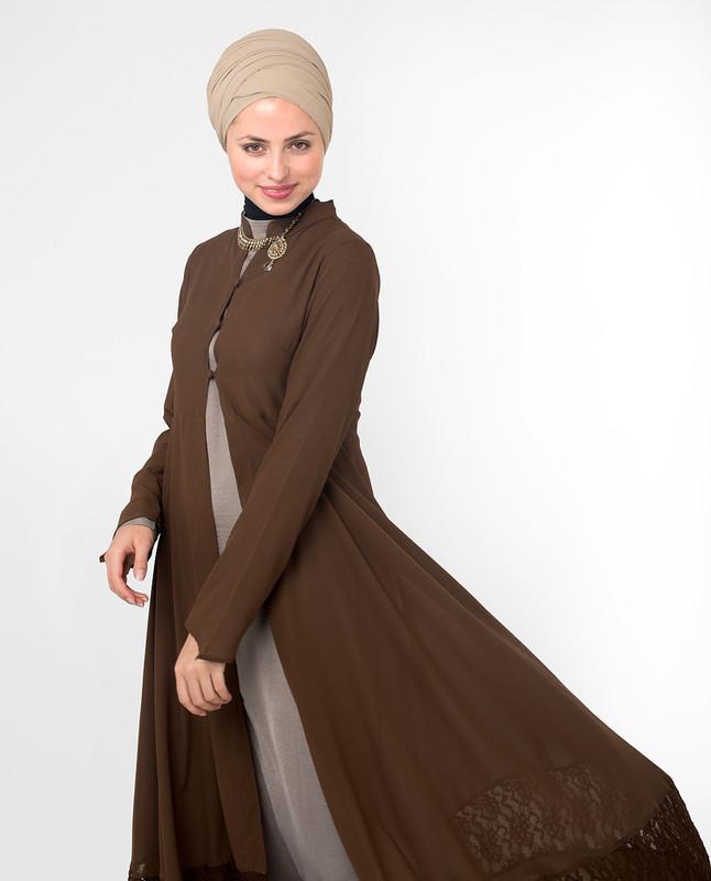 brown outerwear vest, kimono