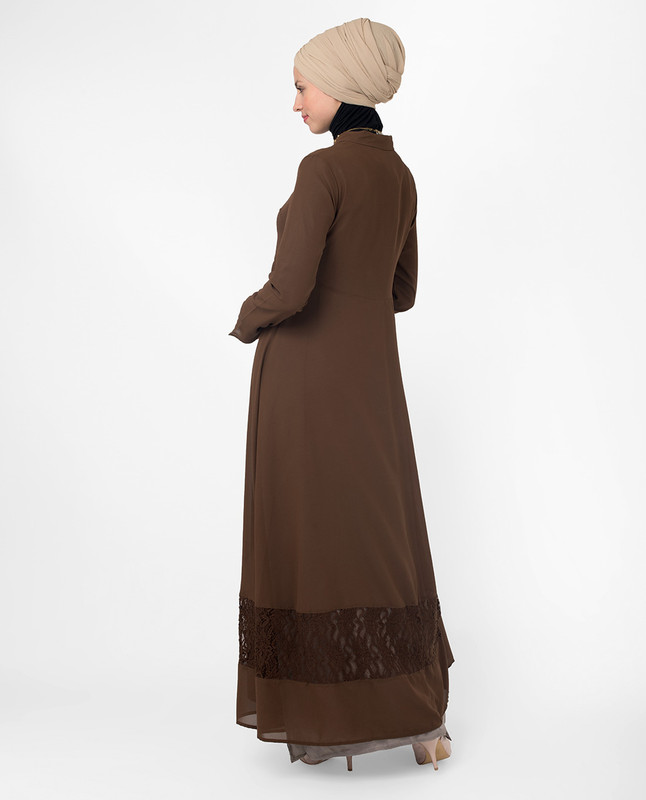 Long brown outerwear. kimono