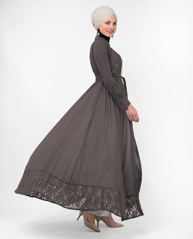 Full Length Grey Elegant Lace Modest Outerwear