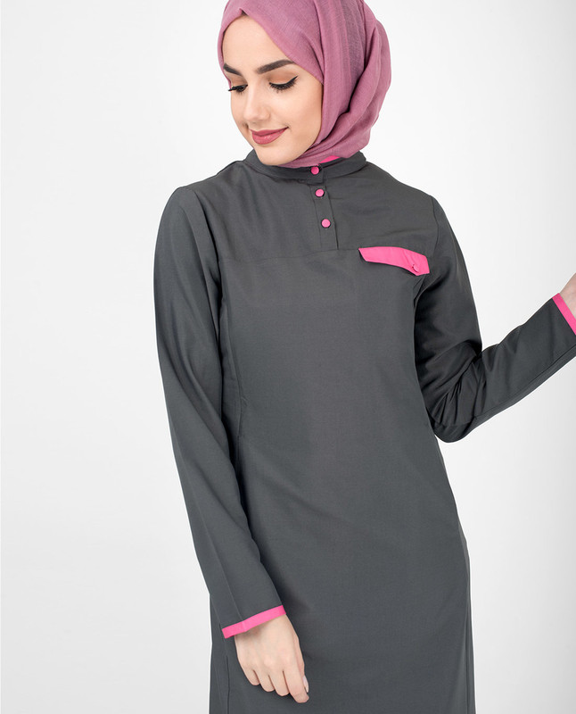 Casual Grey Jilbab With Pink Highlights