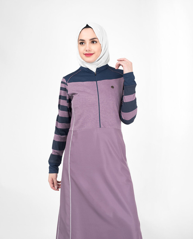 Striper Contrast Arm Casual Jilbab