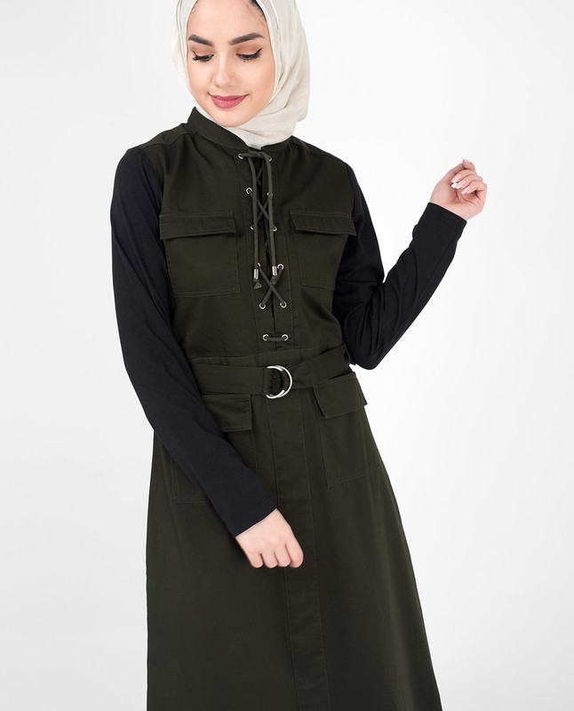 Stylish Olive & Black Sister Jilbab