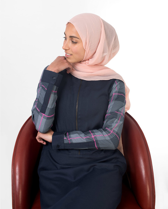 Feminine Checked Blue Jilbab