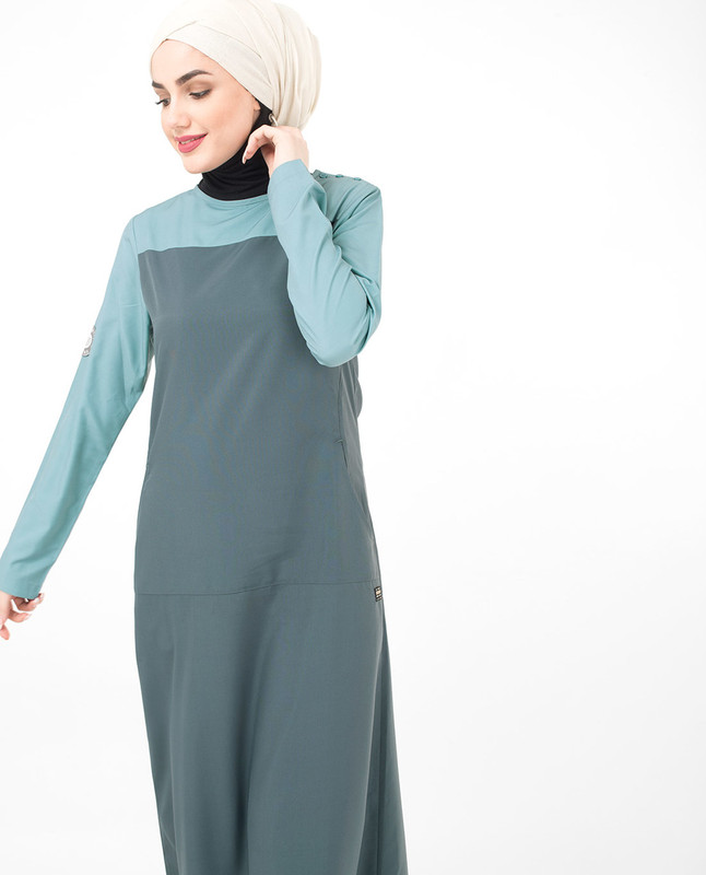 Buy grey and blue abaya jilbab