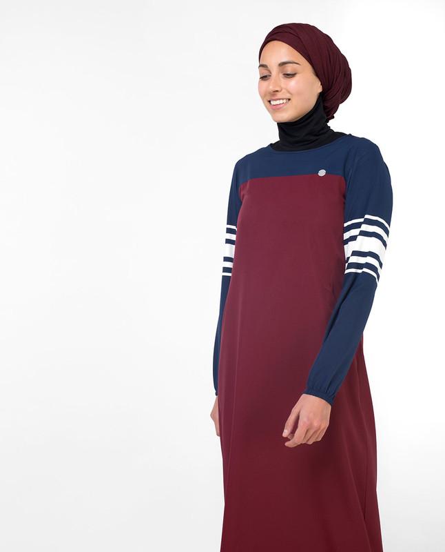 Maroon and blue abaya jilbab