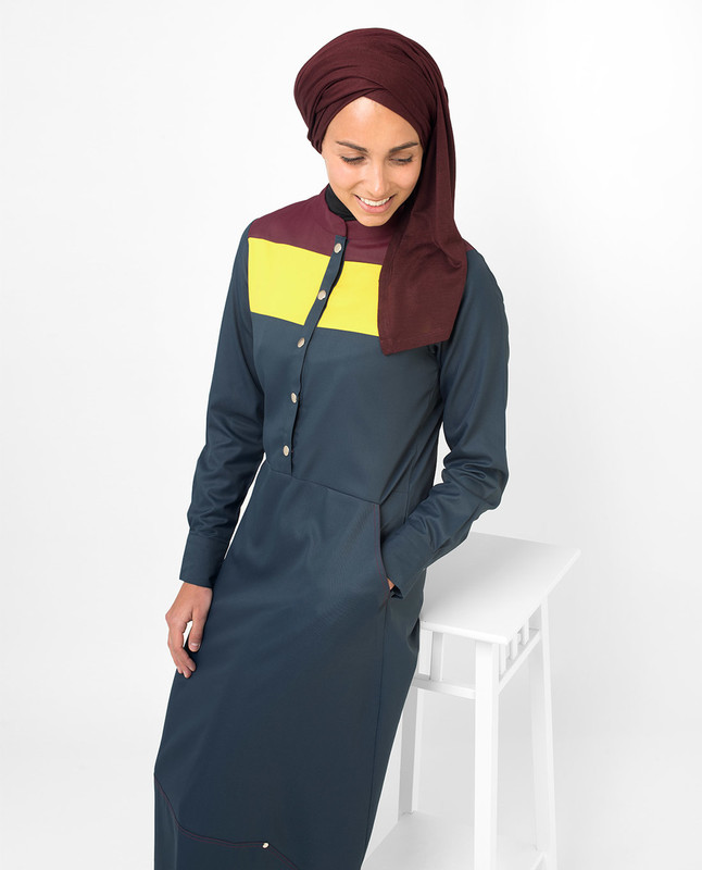Yellow & Red Colour Blocking Jilbab