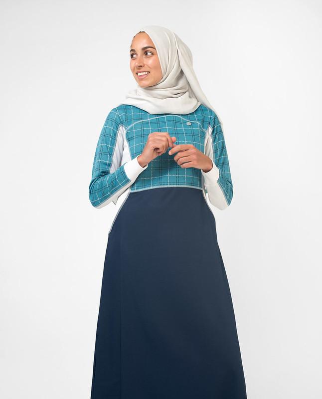Blue printed abaya jilbab