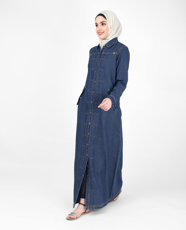 Full Front Open Denim Coat Jilbab