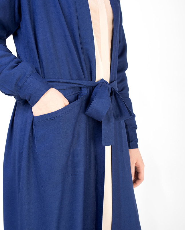 Blue Full Length Viscose Outerwear