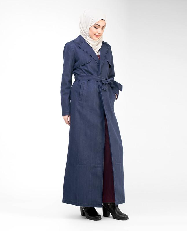 Denim Full Length Trench Coat