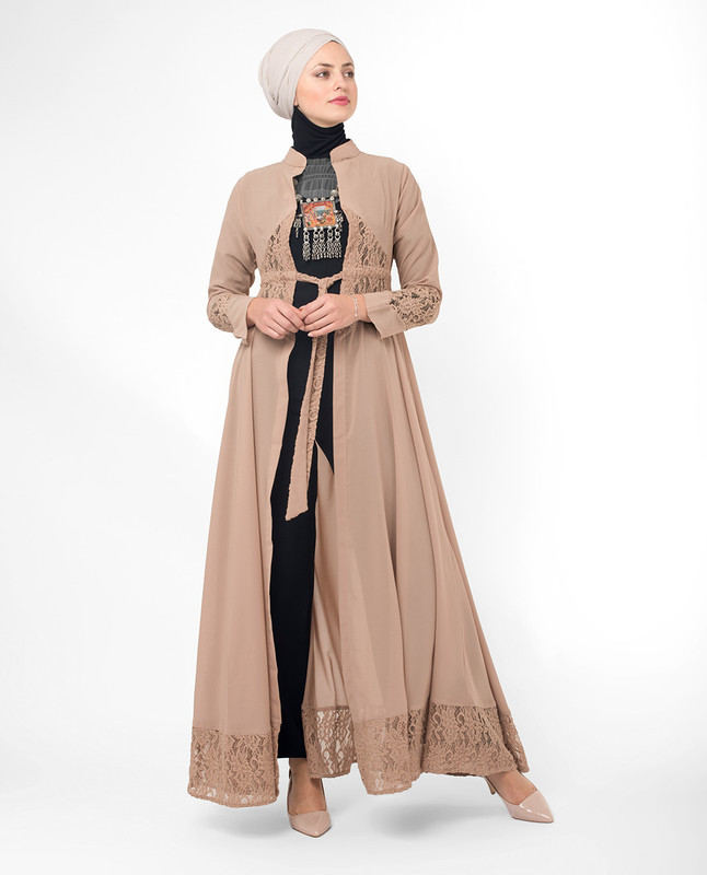 Full Length Sand Elegant Lace Modest Outerwear