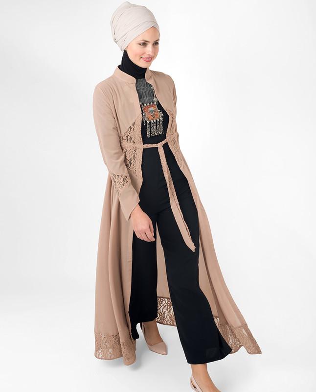Full Length Sand Elegant Lace Modest Outerwear