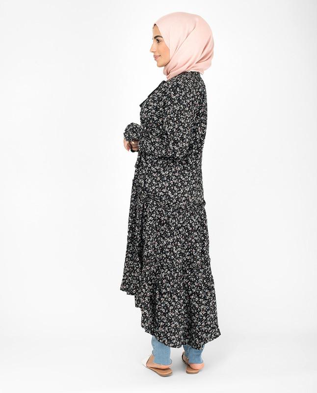 Black Ruffle Pleated Floral Midi Dress