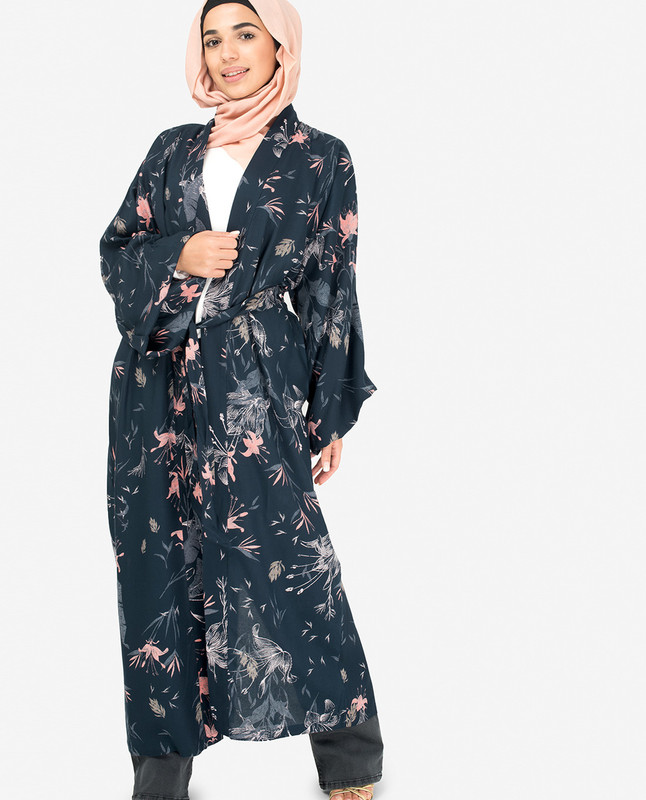 Navy Floral Kimono