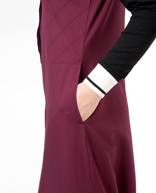 Side pockets red abaya jilbab