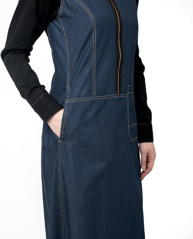 side pockets denim abaya jilbab