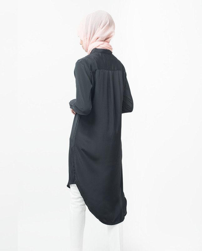 Black Dipped Hem Shirt Midi