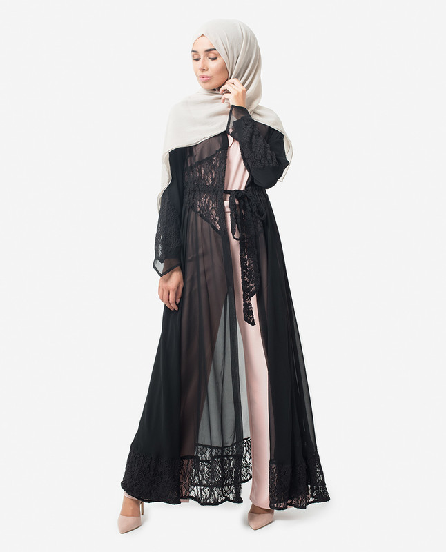 Full Length Black Elegant Lace Modest Outerwear