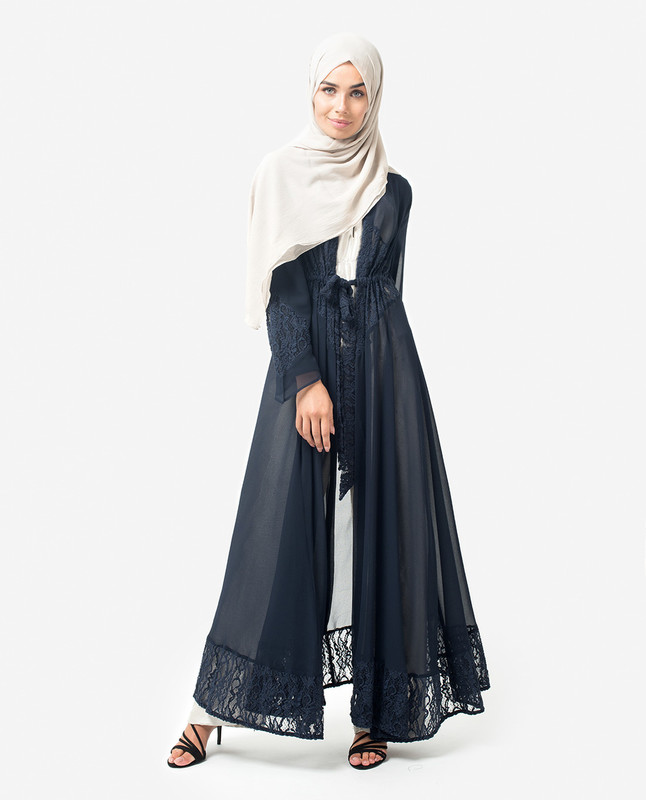 Long Dark Blue Elegant Lace Outerwear