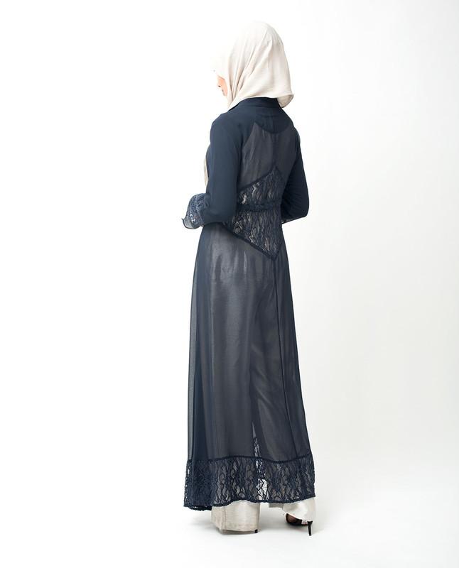 Long Dark Blue Elegant Lace Outerwear