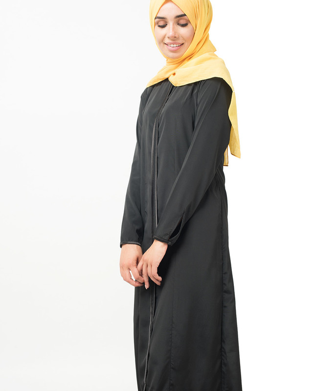 Black Satin Detail Abaya