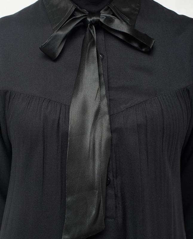Satin Neck Tie Up Black Abaya
