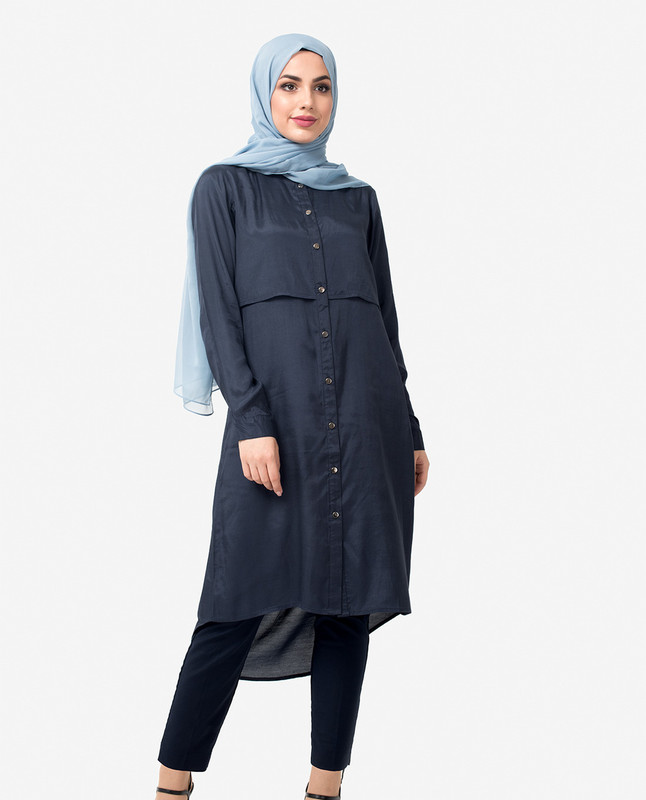 Navy Dipped Hem Shirt Dress
