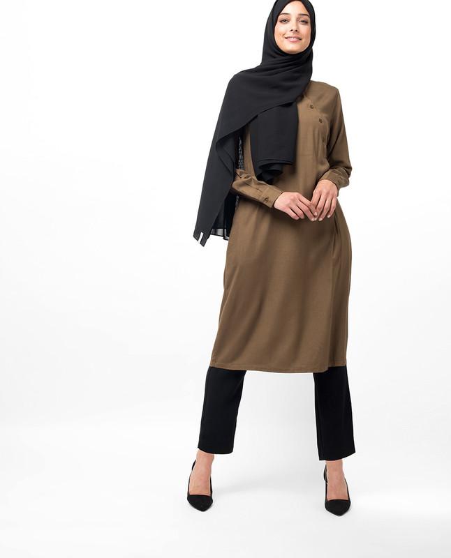 Oriental Diagonal Button Down Midi Dress