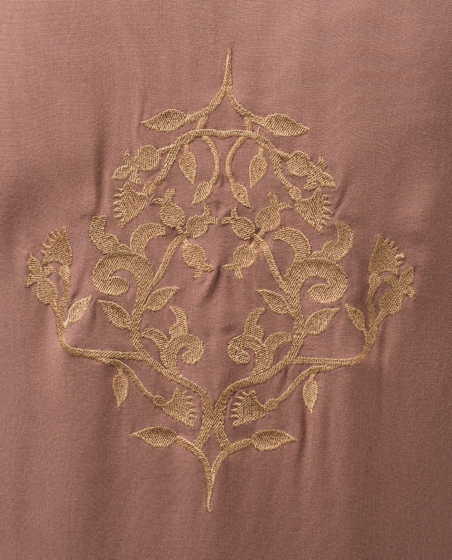 Dusty Rose Kimono With Floral Back Embroidery