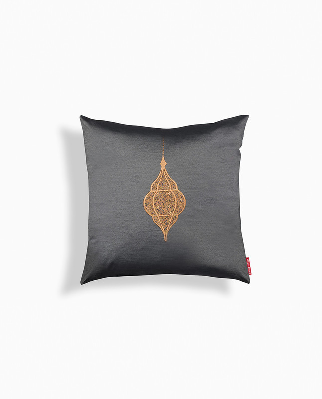 Lantern Embroidery Cushion Cover - Charcoal / Mocha