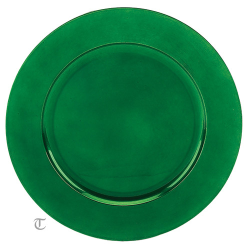 Green Round Charger Plate, Case of 12